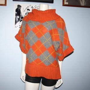 Chunky Argyle Relativity Sweater XL Wool